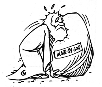 "Cartoon illustrating the classic paradox, ""Can God make a rock big enough that he can't pick it up?"""