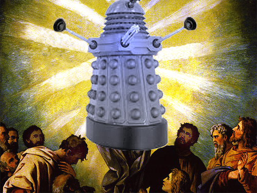 Dalek ascending into heaven as adoring worshippers look on in awe