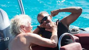 Richard Branson and Barack Obama on Branson's yacht