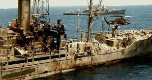 USS Liberty after Israeli attack